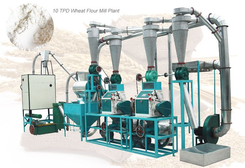 10 ton per day wheat flour machine for small sized flour manufacturing factory