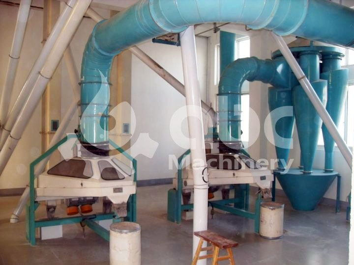 wheat cleanning proces of the 300TPD automatic flour mill plant