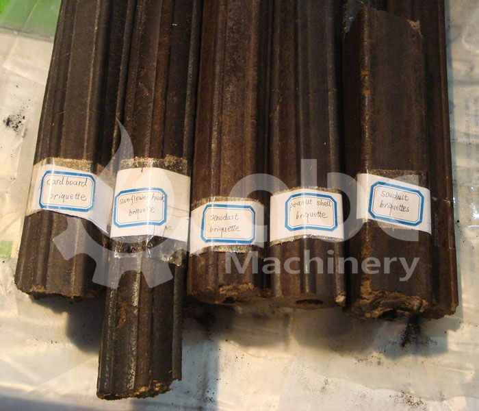 biomass briquette produced from sawdust, sunflower husk, card board