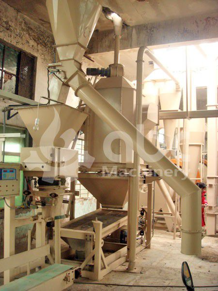 pellets cooling and bagging equipment in the biomass pellet line