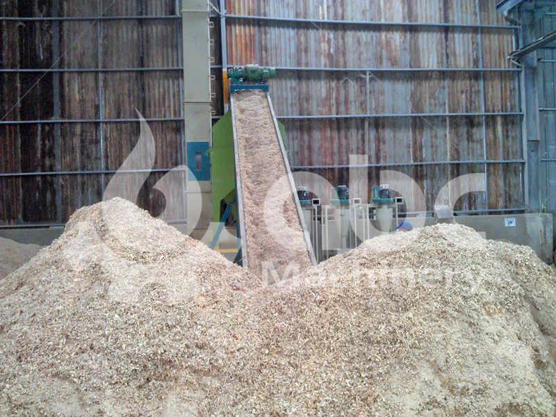 sawdust after crushing process in the pellets production plant