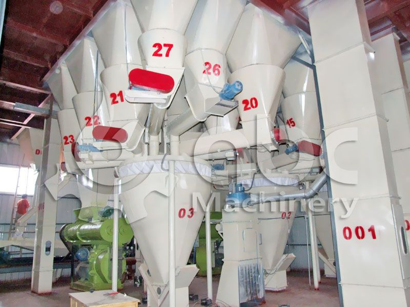 fish feed batching system of the fish feed processing factory