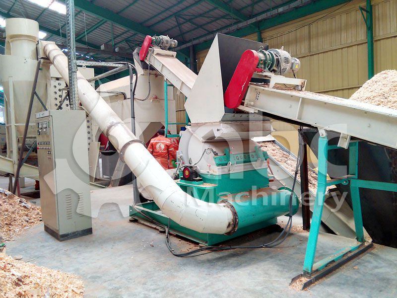 details of the wood crushing equiopment included in the pellet production factory