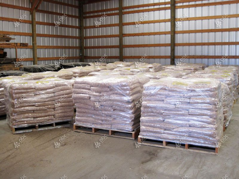 produced livestock pellets in bags for feeding cattle and horse