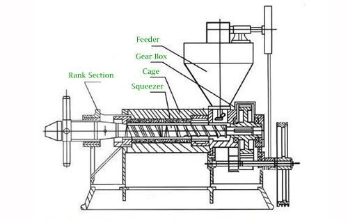 screw sesame oil press structure