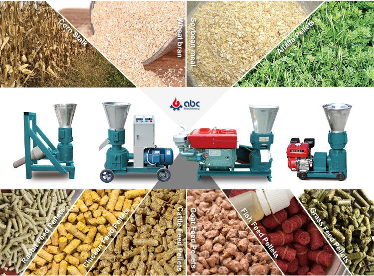 small animal feed mill machine for making fodder pellets at home on farm