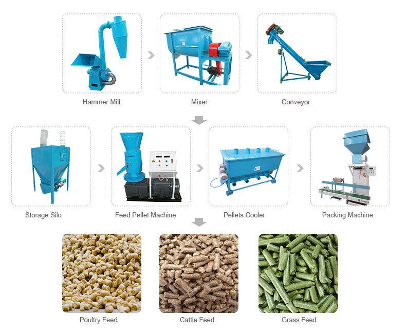small animal feed pellet line for making poultry and cattle feed fodder