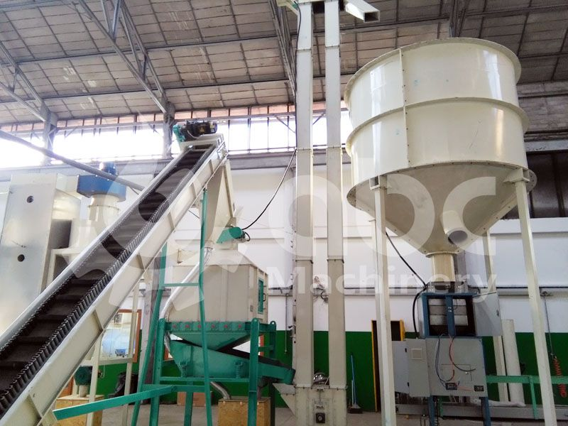 wood pellets cooling and bagging equipment included in the plant