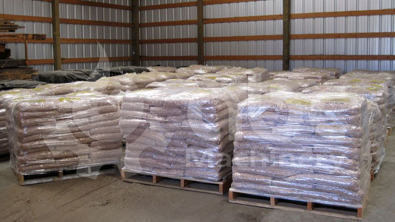 wood pellets in bags